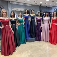 2019 European new purple chiffon Off- Shoulder V- neck evening...