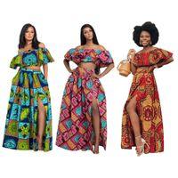 Yeni Afrika kıyafet kadınlar uzun iki parçalı etek max yaz omuz elbiseler kapalı Nijeryalı gündelik parti elbise gece kulübü set seksi