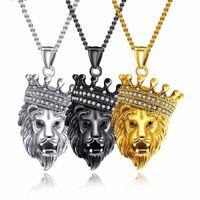 Coole Krone CZ Löwen Kopf Halskette Löwe Gesicht für Mann Edelstahl Link Kette Kubikzirconia Mans Anhänger Halsketten Geburtstagsgeschenk