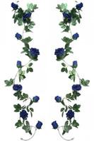 Soie Artificielle Rose Vigne 2pcs 6.5Ft Guirlande Suspendue Fausse Fleur Plantes Artificielles Pour la Fête De Mariage Jardin En Plein Air Maison Hôtel Bureau Shop A