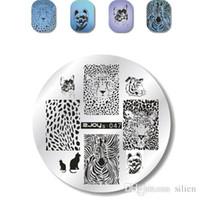 Круглый 5.5cm Nail Art Stamp Штамповка Тарелки набор шаблоны Смазливых животные цветок роза Lace изображение Manicure плита