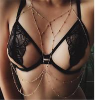 Kadınlar Plajı Takı Yaz Kişilik Bel Göbek Zincirleri Mayo Alaşım Boncuk Zincir kolye Moda Seksi Çok Katmanlı Vücut Zinciri