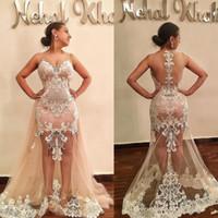 2019 robes de bal sexy jupon appliques de dentelle étonnantes robe de soirée élégante élégante de soirée pure dos nu Plus la taille robes de fiesta
