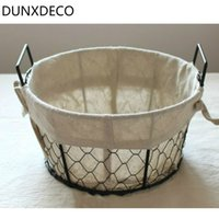 DUNXDECO Fruit Bread Food Storage Basket Rustic Iron Wire Ne...