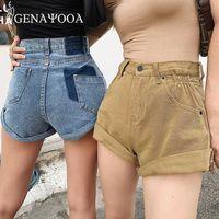 Genayooa 2020 Kore Kadınlar Şort Yüksek Bel Şort Kot Demin ile Pocket Casual Geniş Bacak Denim Yaz Streetwear Sıcak