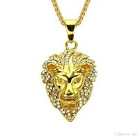 Nueva moda para hombre Iced Out Collar Hip Hop Full Diamond Lion Head Collar Dominante Collar de oro Joyería