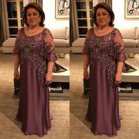 2020 Festa di nozze Madre della sposa Abiti con applique in pizzo perline mezze maniche abiti da sera Plus Size Prom Dress