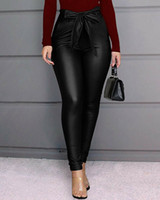 New Fashion Leggings femmes Ladies PU taille haute Pantalon en cuir stretch Skinny Crayon Noir Pantalon rouge