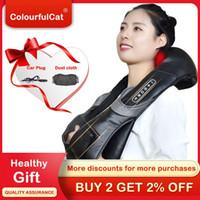 Massageador de rolos de pescoço elétrico para dor nas costas shiatsu lâmpada infravermelha massagem travesseiro gua sha produtos corporal cuidados de saúde relaxamento