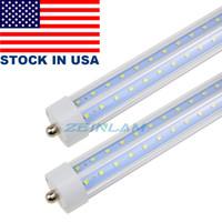 T8 72W LED 튜브 전구 8 피트 V 모양의 LED, 단일 핀 FA8베이스 LED 가게 조명 150W 형광등 교체 이중 종단력