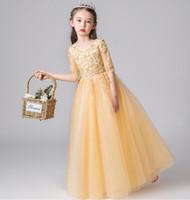 Lovely Champaign Gold 1/2 maniche perline perline Flower Girl Dresses Girls 'Pageant Abiti Abiti Vacanze / Abito da compleanno / Gonna Dimensioni personalizzate 2-14 DF710330