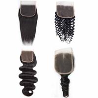 4x4 dentelle fermeture droite vague de corps en vrac Vague vague bouclée brésilienne remy cheveux Fermeture couleur naturelle 8-20inch
