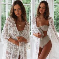 Женщины Кружева Кимоно Бич Кардиган Бикини Cover Up Wrap Пляжная Длинные блузки