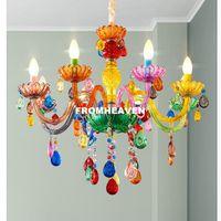 Ücretsiz Kargo Art deco Renkli Avize Karışık renk / Pembe / Siyah / Mavi Oturma Odası Mum Lambaları lüks Akrilik Kristal Aydınlatma
