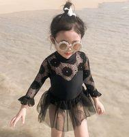 طويلة الأكمام طفل الفتيات المايوه 2020 الصيف لطيف الأميرة الرباط بيكيني طفل فتاة الاطفال ملابس الشاطئ الاستحمام الدعاوى السباحة اللباس