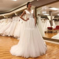 Simple Satin Wedding Dresses Sleeveless Deep V- Neck Open Bac...