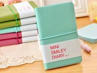 Novo Colorido Mini Sorriso Caderno De Couro 7.5 * 12.5 CM 192 Folhas de Fio Encadernado 90 g / pc Diário de Moda para Negócios e Estudantes 50 pcs DHL livre