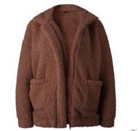 패션 여성 코트 여성 무성한 자켓 가을 지퍼 봉제 두꺼운 캐주얼 플러스 사이즈 어린 양 겨울 가짜 모피 코트 여성 외투