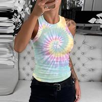 JAYCOSIN Streetwear Sıkı tişört Kadınlar 2020 Yeni Kolsuz Tie-boya Işık Renkli Baskı Bayanlar Tişörtlü Serin Yuvarlak Yaka Tee Tops