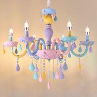 Regenbogen-Kristall-Kronleuchter European Candle Lustres Restaurant Schlafzimmer Kinderzimmer American Girl Princess Makaron Lampen AC 90-260V