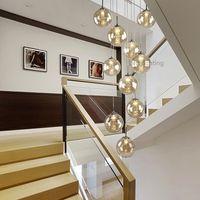 lampadario palle di vetro lampadario scala moderno ristorante minimalista personalità creativa soggiorno cristallo duplex lungo lampadario G9