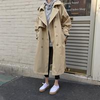 Nueva Primavera 2020 Otoño Las mujeres Gabardina larga informal largo elegante de gran tamaño doble de pecho de la vendimia Outwear perder rompevientos Mujer