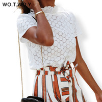 Wotwoy White Hollow Ruffles T- shirts Women Bohemian Cotton L...