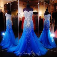 섹시 로얄 블루 머메이드 롱트 댄스 패스 드레스 미인 여성 연인 베스트 도스 럭셔리 구슬 크리스탈 Vestidos 드 Gala Tulle Pageant Gowns