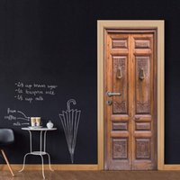 3D Vinyl Door Mural Poster Retro Wooden Wall Adesivo da parete Decalcomania Art Decor Rimovibile Murale Carta da parati porta economica