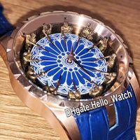 Üst Baskı Yeni Excalibur 45 RDDBEX0495 Yuvarlak Masa Şövalyeleri Otomatik Erkek İzle Mavi Emaye Kadran Gül Altın Mavi Deri Hello_Watch