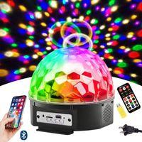 9 컬러 LED 블루투스 무대 조명 DJ 무대 조명 회전 크리스탈 매직 볼 라이트 사운드는 원격 제어로 빛을 활성화