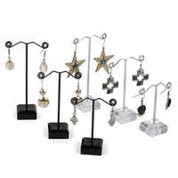 Fashioon Mini Metallohrring-Rack-Acryl Dreiteiliger Ohrringe Anzeigen Schmuckschatullen Displays Schmuck Zähler Display Rack