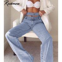 Рокмор Hollow из Сыпучих высокой талии джинсовых брюк для женщин мешковатых Прямых брюк Denim Карманы Широкого Leg бегуны Повседневной одежда