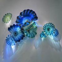 Синий Shade Wall Art Тарелки ручной выдувного стекла Бра Американский Customized Перегорел муранского стекла Настенные светильники для домашнего декора Бесплатная доставка