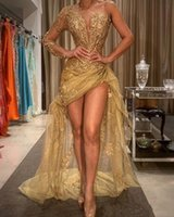 2020 gold sexy afrikanische rom pageant kleider high low spitze appliquen ein schulter abendkleid schiere langarm formale tragen robes de soiree