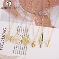 Catene Coperture del mare della spiaggia di modo Boho stelle marine della conca in acciaio inox Collana in oro in lega di gioielli fascino semplice regalo per le donne-Y
