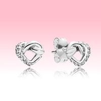 925 Sterling prata amor corações brinco mulheres casamento jóias caixa original para pandora knotted coração stud brincos conjunto