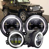 """Faros de proyector LED redondos de 45 vatios y 7 """"+ luz antiniebla de 3,0 pulgadas y 30 vatios Para-Jeep Wrangler JK LJ TJ"""