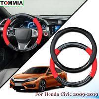 Kaymaz Karbon Elyaf Deri Araç Direksiyon Kapak For Honda Civic 2009-19