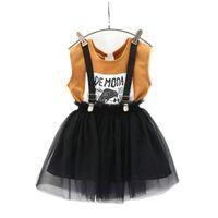 Kızlar Giyim Seti Yaz Kahverengi Gömlek Genel 2 Adet Moda Çocuk Kız Kıyafetler