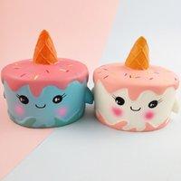 Nette rosa Einhorn-Kuchen spielt bunte Karikatur für Kinder Spaß-Geschenk-Soft-Squishy Rising Langsam Kawaii Spielzeug