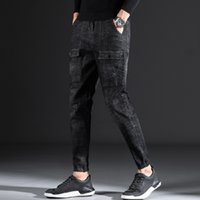 Pencil Pants Herren Jeans Slim Wash Denim Jeans Herren Schnürhosen Hosen
