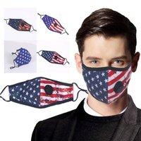 Großhandel entworfene amerikanische Flaggenmaske Baumwolle wiederverwendbare Muffelmaske mit Atemventil Ersatzfiltereinsatz Maske gedruckt fy9123