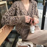 Moda Örme Tek Breasted Coat Kadınlar V-Yaka Leopard Hırka Kazak Casual Uzun Kollu Kazak