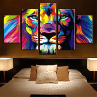 5 Panels Large Colorful King Lion Animal Modern Design Abstr...