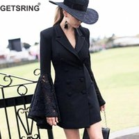 GETSRING Donna Blazer Flare Sleeve Blazer doppiopetto Giacca lunga donna Manica lunga Slim Thin Spring Jacket Suit
