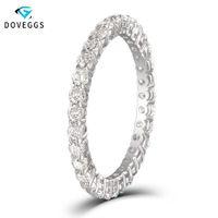 Doveggs Classic 10 k oro blanco 1ctw 2 mm brillantez Moissanite anillo de compromiso de diamantes para mujeres eternidad bandas de boda nupciales Y19052301