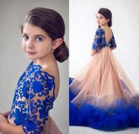 Princesa Azul Royal Flower Girls Pageant Vestidos para o Desenhador de Casamento Sem Encosto Rendas Apliques Babados Crianças Formais Vestido Primeira Comunhão