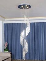 Tromba delle scale XL 1-4.5M spirale portato Lampadario bolla di cristallo dell'hotel di illuminazione della scala lustro Illuminazione Lamparas De Techo LED