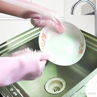 2pcs pair Magic Washing Brush Silicone Glove Resuable Househ...